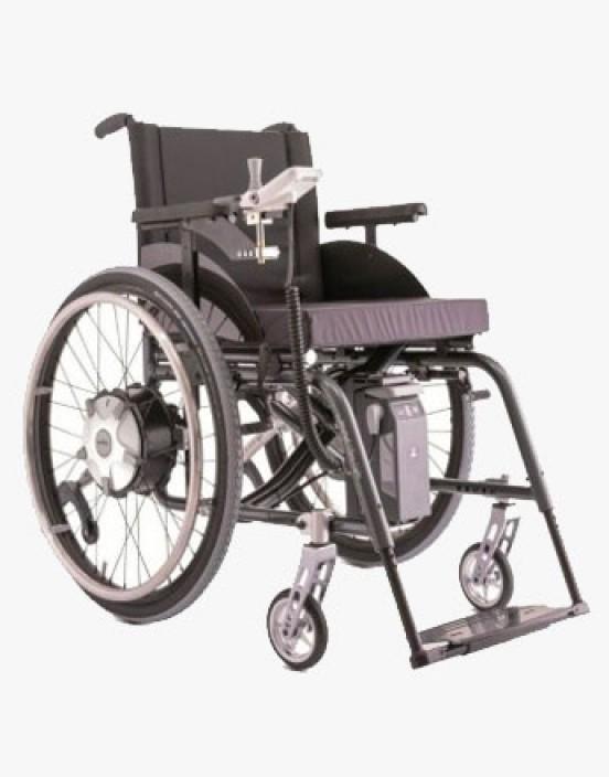 Mietprodukt Rollstuhl standard faltbar mit E-Fix Antrieb Alber
